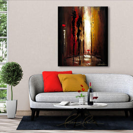 Leanne Laine Fine Art original artist painting displayed above couch of couple in city alley talking with person walking by with red umbrella