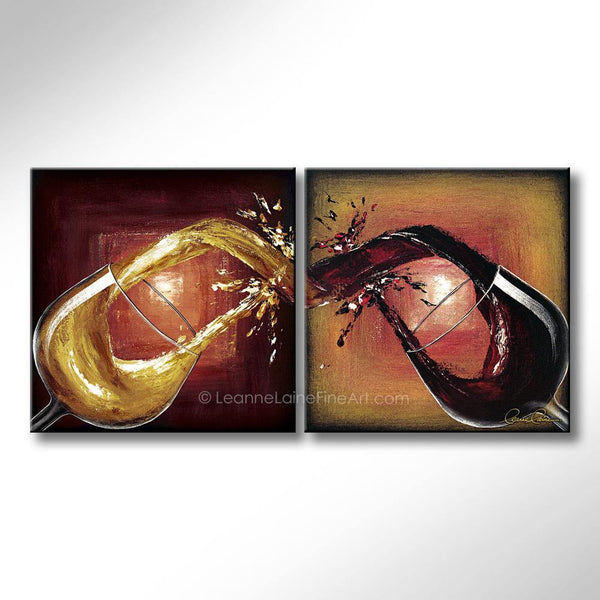 Leanne Laine Fine Art original artist painting of white and red wine splashing and pouring between two glasses