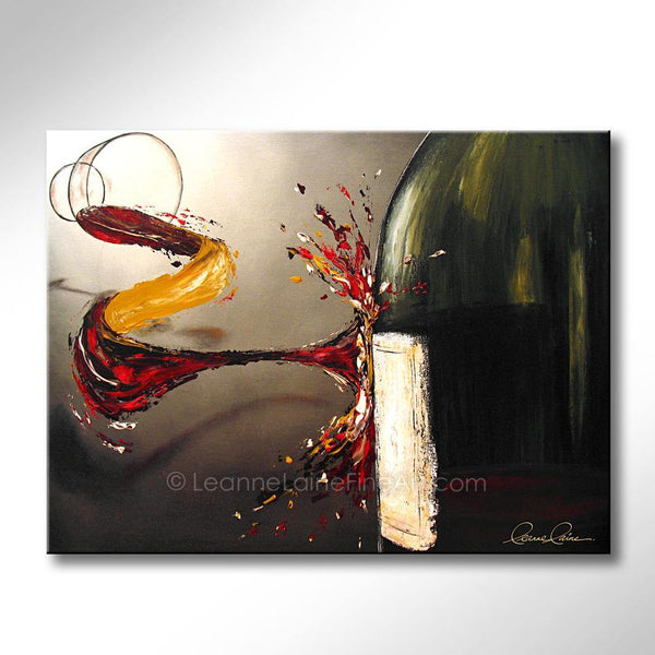 Leanne Laine Fine Art original artist painting of glass splashing and pouring wine thrown at bottle with label