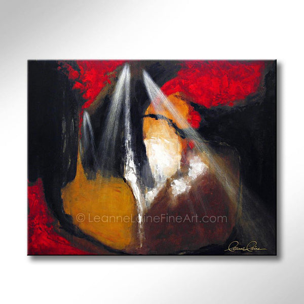 Leanne Laine Fine Art original artist painting of nature forest dream with light shining into red yellow and black background