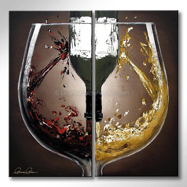 Leanne Laine Fine Art original artist painting of red and white wine pouring and splashing with botttle inside glass