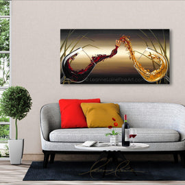 Leanne Laine Fine Art painting displayed above couch of sexy woman bride in wine being poured from red and white wine glasses