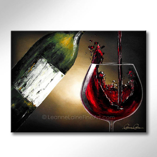 Leanne Laine Fine Art original artist painting of red wine splashing and pouring into large glass from bottle
