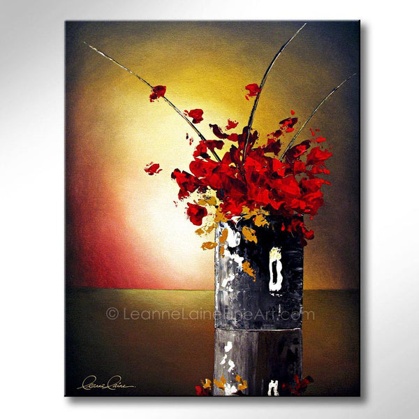 Leanne Laine Fine Art original artist painting of red and yellow flowers with stick floral arrangment in vase