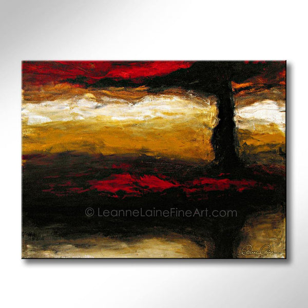 Leanne Laine Fine Art original artist painting of red trees and leaves with sunset nature scene