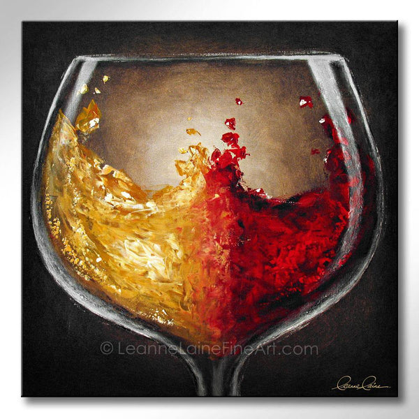 Leanne Laine Fine Art original artist painting of red and white wine splashing in glass