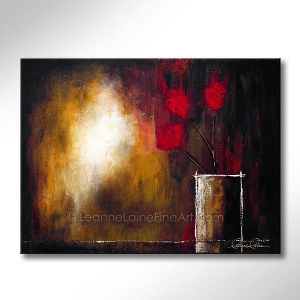Leanne Laine Fine Art original artist painting of red flowers leaning out of vase towards sunlight