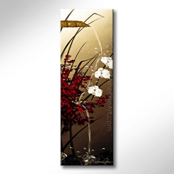 Leanne Laine Fine Art original artist painting of peaceful zen bamboo fountain pouring water on flowers and rocks
