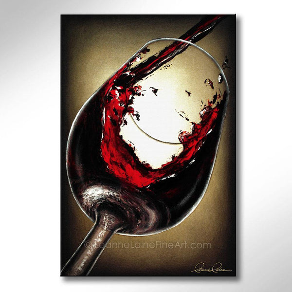 Leanne Laine Fine Art original artist painting of red wine pouring and splashing into glass