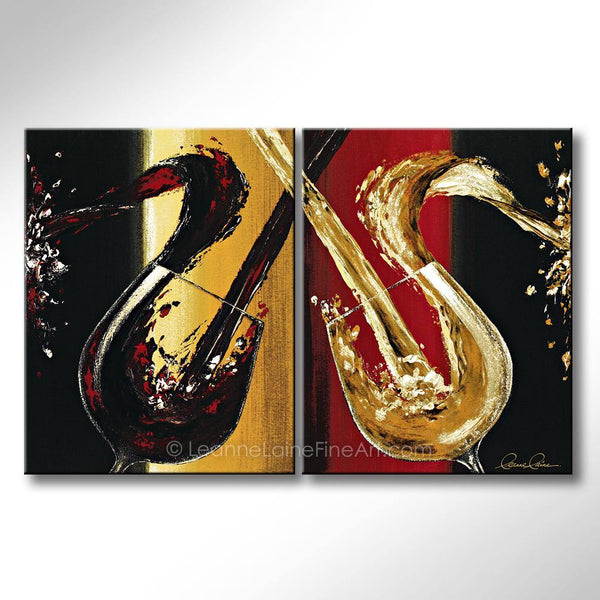Leanne Laine Fine Art original artist painting of red and white wine splashing and pouring into glasses