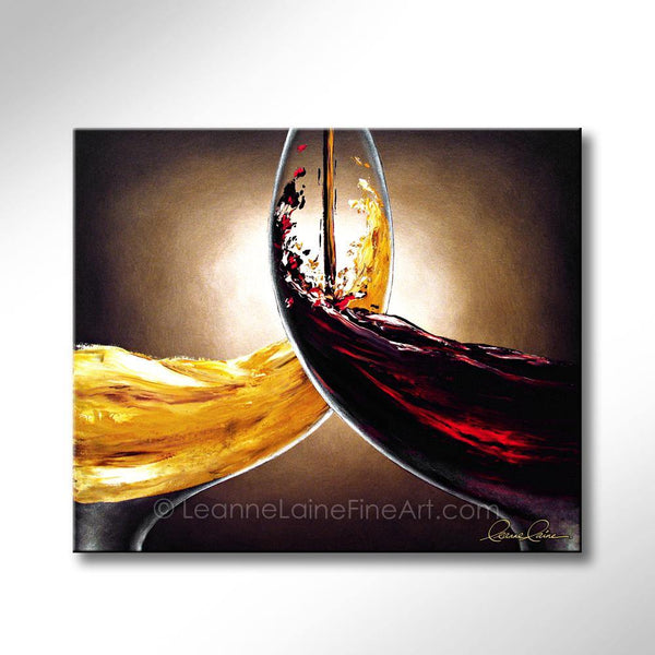 Leanne Laine Fine Art original artist painting of red and white wine pouring into glasses