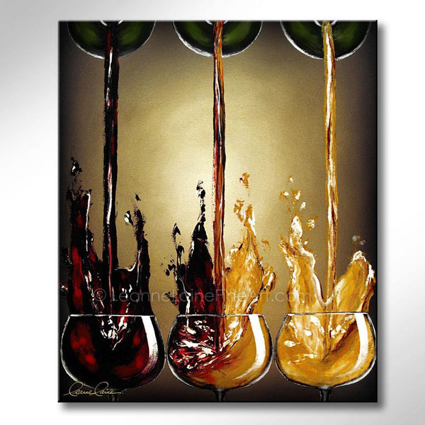 Leanne Laine Fine Art original artist painting of red and white wine splashing from glasses in shapes of guitars