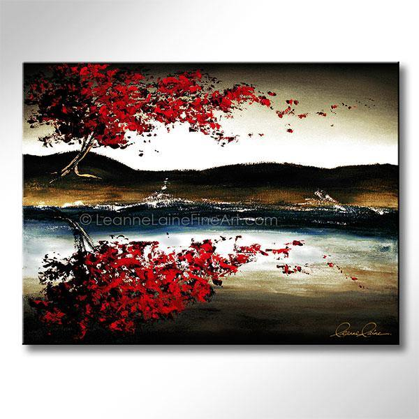 Leanne Laine Fine Art original artist painting of red leaves blowing over water from tree in autumn