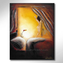 Leanne Laine Fine Art painting of naked woman getting out of bed with flowers in the morning