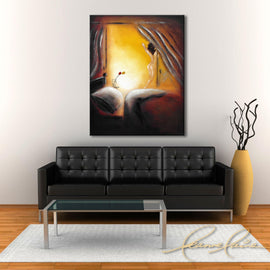 Leanne Laine Fine Art painting displayed above black couch of naked woman getting out of bed with flowers in the morning
