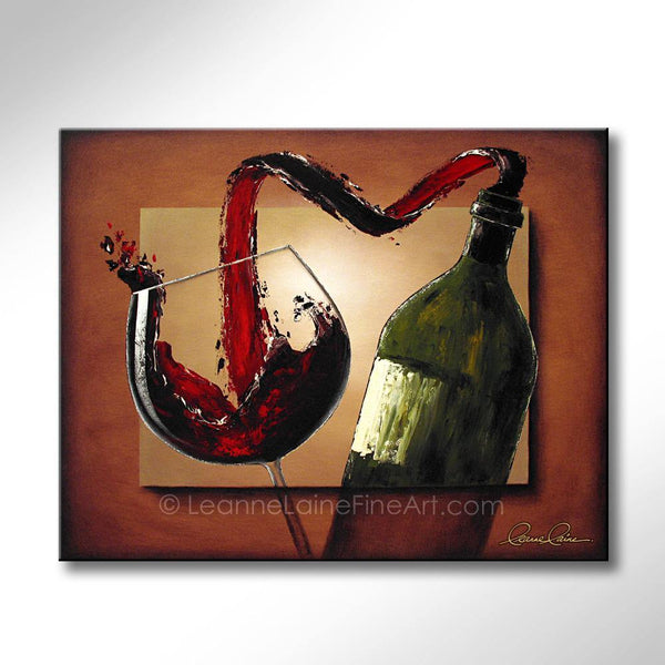 Leanne Laine Fine Art original artist painting of bottle pouring and splashing red wine into glass