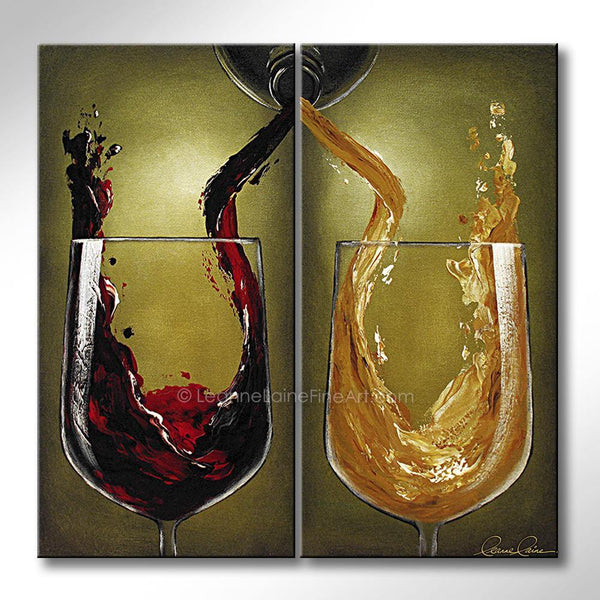 Leanne Laine Fine Art original artist painting of splashing pouring red and white wine from bottle into two glasses