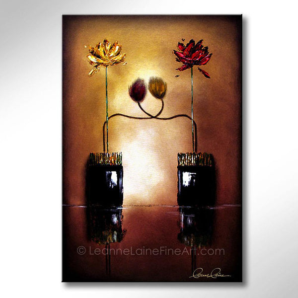 Leanne Laine Fine Art original artist painting of red and yellow tulip flowers in vases hugging