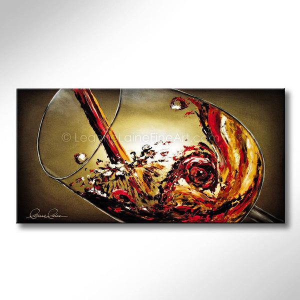 Leanne Laine Fine Art original artist painting of red and yellow rosato wine splashing in big glass