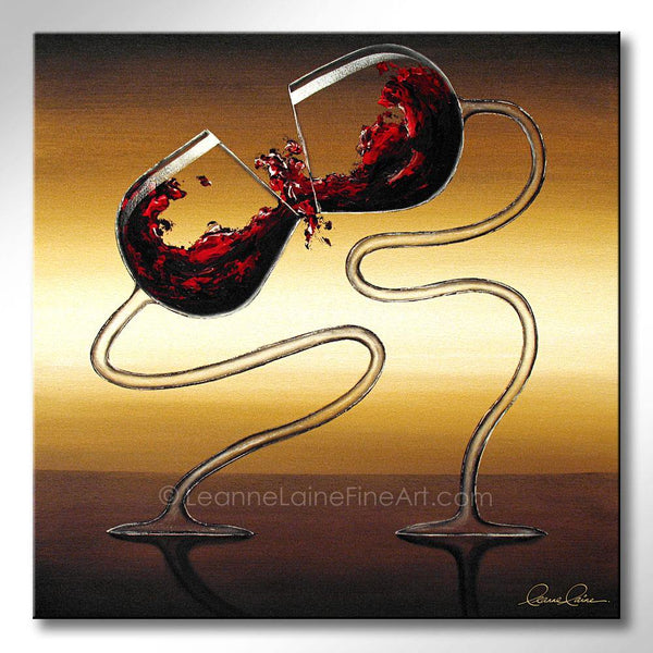 Leanne Laine Fine Art original artist painting of red wine glasses splashing kissing and dancing