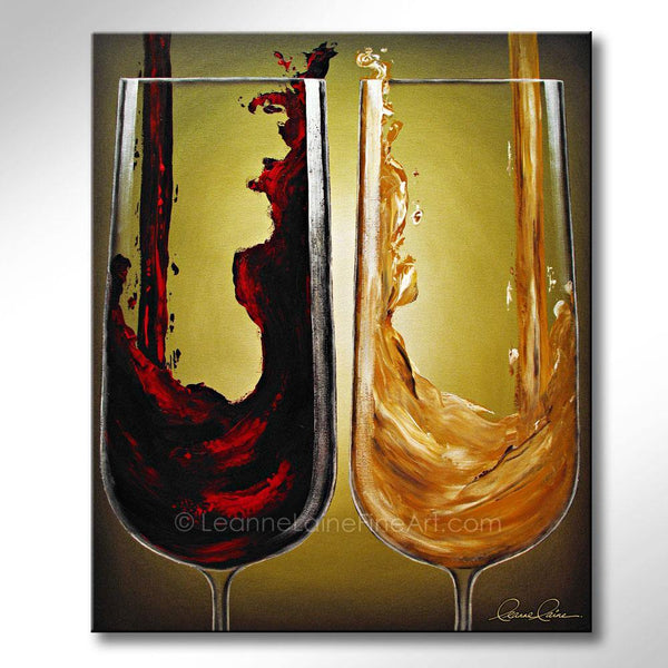 Leanne Laine Fine Art original artist painting of red and white wine pouring and splashing into glasses