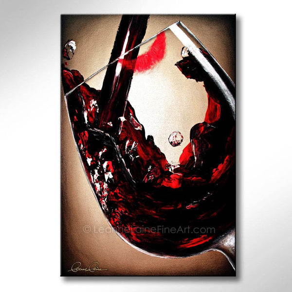 Leanne Laine Fine Art original artist painting of lipstick on wine glass with pouring and splashing red wine