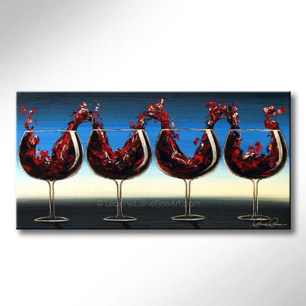 Leanne Laine Fine Art original artist painting of red wine splashing from glasses like a concert concerto