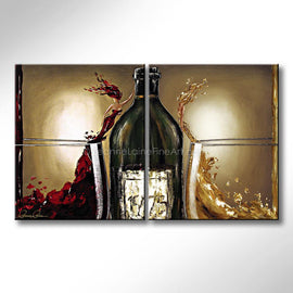 Leanne Laine Fine Art original artist painting of red and white women in wine splashing out of glasses touching bottle