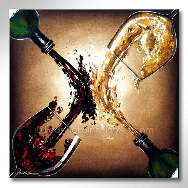 Leanne Laine Fine Art original artist painting of red and white wine glasses splashing between two bottles