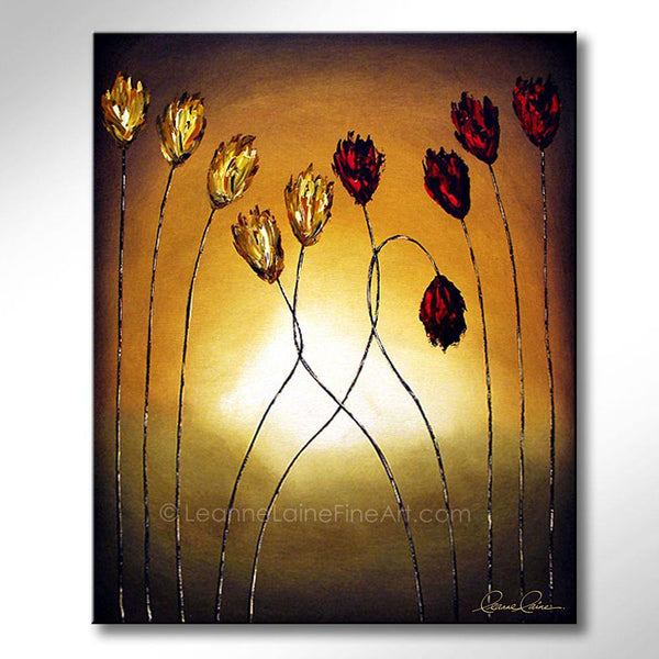 Leanne Laine Fine Art original artist painting of red and yellow flowers tulips growing and hugging