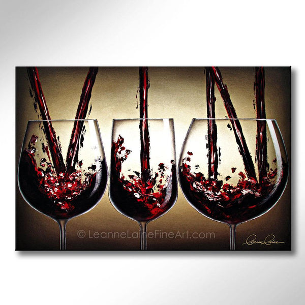 Leanne Laine Fine Art original artist painting of three glasses of red wine splashing and pouring the word vin