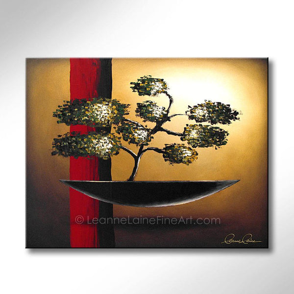 Leanne Laine Fine Art painting of asian japanese bonsai tree with red stripe and gold background