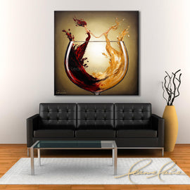 Leanne Laine Fine Art original artist painting displayed above couch of two women in wine dancing in red and yellow glass
