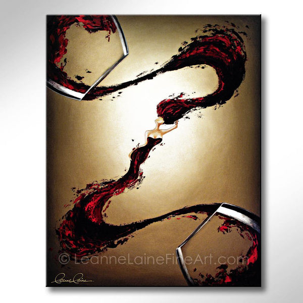 Leanne Laine Fine Art original artist painting of red sexy woman in wine splashing between glasses