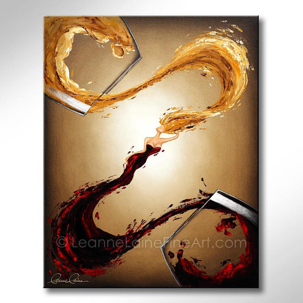 Leanne Laine Fine Art original artist painting of red and white sexy woman in wine splashing between glasses