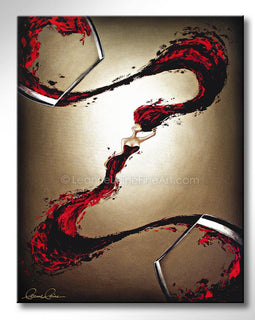 Leanne Laine Fine Art original artist painting of blush rose sexy woman in wine splashing between glasses