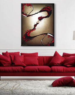 Leanne Laine Fine Art original artist painting displayed above couch of blush rose sexy woman in wine splashing between glasses
