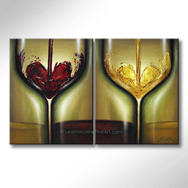 Leanne Laine Fine Art original artist painting of red and white wine pouring hearts inside glasses.