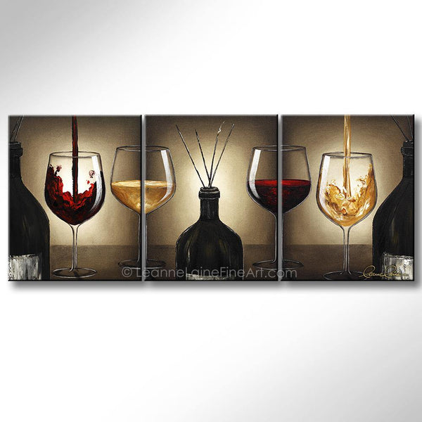 Leanne Laine Fine Art original artist painting of red and white wine glasses with bottle filled with incense sticks
