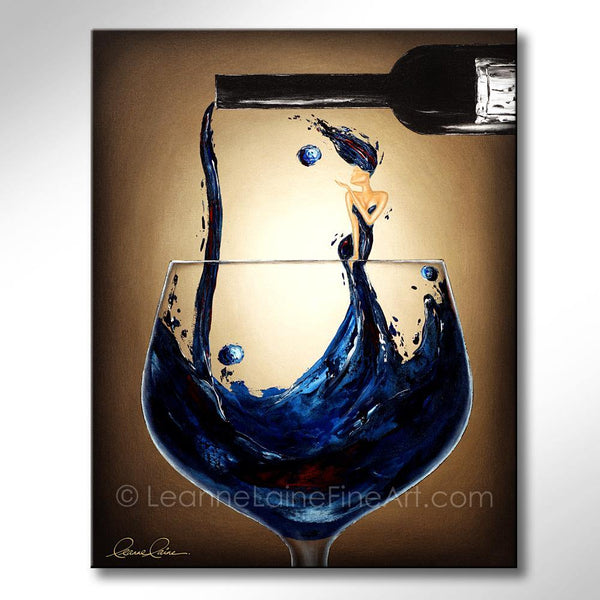 Leanne Laine Fine Art painting of woman in blue wine blowing a kiss in pouring wine from a bottle