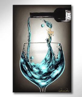 Leanne Laine Fine Art painting of woman in teal blue wine blowing a kiss in pouring wine from a bottle