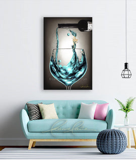 Leanne Laine Fine Art painting displayed above couch of woman in teal blue wine blowing a kiss in pouring wine from a bottle