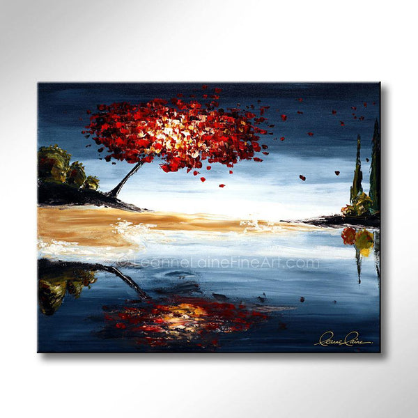 Leanne Laine Fine Art original artist painting of red leaves blowing from tree over water landscape