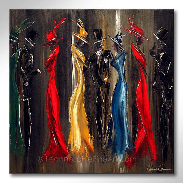 Leanne Laine Fine Art painting of women and men dressed in suits hats and red and green dresses at a theater