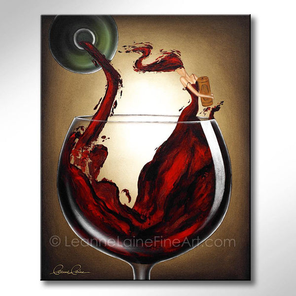 Leanne Laine Fine Art original artist painting of splashing red woman in wine glass holding cork pouring from bottle