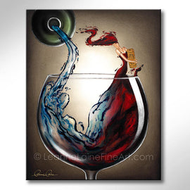 Leanne Laine Fine Art original artist painting of splashing red woman in wine glass holding cork pouring from water bottle
