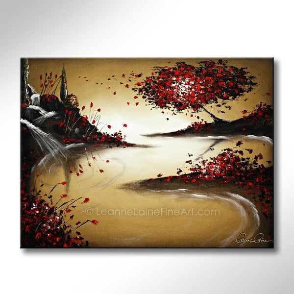 Leanne Laine Fine Art painting of autumn fall red tree blowing leaves by river stream