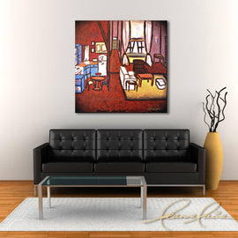 Leanne Laine Fine Art original artist painting displayed above couch of Monica's apartment from Friend's TV sitcom