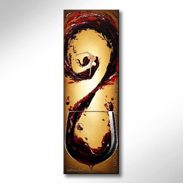 Leanne Laine Fine Art original artist painting of sexy woman in wine swirling in splashing glass