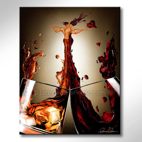 Leanne Laine Fine Art painting of man and woman hugging in red wine and whiskey pouring into a romantic embrace kissing with hearts
